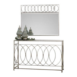 Uttermost Aniya Glass Top Console Table - Antiqued silver leaf iron with clear glass top. Antiqued silver leaf iron with clear glass top. Matching mirror is #12853.
