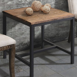 Zuo Modern - 23.6 in. Side Table - Warranty: One year limited. Made from elm wood and metal. Distressed natural finish. Assembly required. 23.6 in. W x 23.6 in. D x 23.6 in. H (23.8 lbs.)