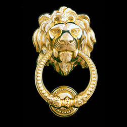 Lion Head Brass Door Knocker - This lion's head door knocker is regal and sophisticated with a dash of whimsy. It would really pop against my red front door.