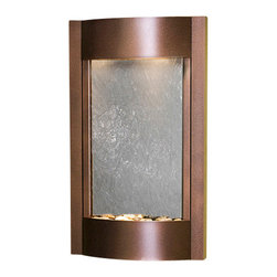 Adagio Water Features - Serene Waters Wall Fountain, Copper Vein, Black Featherstone - Easy installation and lightweight