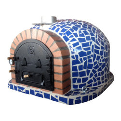 Outdoor / Garden Wood Fired Pizza Oven w/ Mosaic, Cast Iron Door, Insulation, Bl - Wood Fired Pizza Oven with Mosaic Tiles and Cast Iron Door!