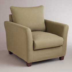 World Market - Sage Luxe Chair Slipcover - Style your space and dress your Luxe Chair in our wonderfully neutral Sage Luxe Chair Slipcover, designed to fit like a glove. At this affordable price, you can keep one on the chair and one in your linen closet for a handy way to manage life's little spills.