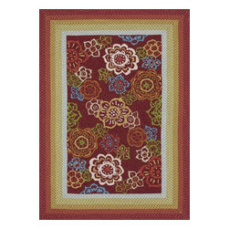 "Loloi Rugs - Loloi Rugs Zamora Collection - Red, 5'-0"" x 7'-6"" - The Zamora Collection, made in China of 100% polypropylene, combines a hand-hooked field with a hand-braided border, for an overall look that exceeds expectations in an indoor/outdoor product. Cheerful and vibrantly colored, this collection breathesliveliness into an outdoor space."