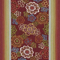 """Loloi Rugs - Loloi Rugs Zamora Collection - Red, 2'-3"""" x 3'-9"""" - The Zamora Collection, made in China of 100% polypropylene, combines a hand-hooked field with a hand-braided border, for an overall look that exceeds expectations in an indoor/outdoor product. Cheerful and vibrantly colored, this collection breathesliveliness into an outdoor space."""