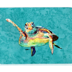 Caroline's Treasures - Turtle Kitchen Or Bath Mat 24X36 - Kitchen / Bath Mat 24x36 - 24 inches by 36 inches. Permanently dyed and fade resistant. Great for the Kitchen, Bath, outside the hot tub or just in the door from the swimming pool.    Use a garden hose or power washer to chase the dirt off of the mat.  Do not scrub with a brush.  Use the Vacuum on floor setting.  Made in the USA.  Clean stain with a cleaner that does not produce suds.
