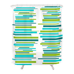 Crash Pad Designs - Crash Pad Designs 50's inspired Shower Curtain - Outfit your bathroom with this playful shower curtain for a pop of color. Design is printed on machine washable woven polyester, which features 12-stitched button holes for hanging. liner and rings are not included.
