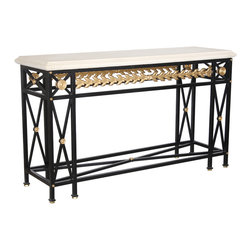 """GILANI - Laurel Console Base - Laurel Console Base. Style no. CO9192. 60""""w x 18""""d x 33""""h. Material: Metal. Finish/Accents: As specified. Top Options: Glass, stone, wood. Custom sizing available. Designed by Shah Gilani, ASFD."""