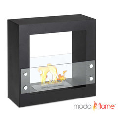 Moda Flame - Moda Flame Porta Free Standing Ventless Ethanol Fireplace Black - The Porta's contemporary fireplace flame can be visible from almost any point in a room with its opening on both sides of the square shaped steel body. It sits nicely against a wall, in a quiet corner, or as an inconspicuous room divider. Two tempered glass sheets on each side act as a protector from the flame.