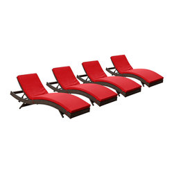 Modway - Modway EEI-1176 Peer Chaise Set of 4 in Brown Red - Don't let moments of relaxation elude you. Peer is a serenely pleasant piece comprised of all-weather cushions and a rattan base. Perfect for use by pools and patio areas, chart the waters of your imagination as you recline either for a nap, good read, or simple breaths of fresh air. Moments of personal discovery await with this chaise lounge that has fold away legs for easy storage or stackability with other Peer lounges.