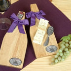 Wooden Cheese Board and Knife - Have your food ready for the party with the Wine Bottle Wood Cheese Board and Knife.
