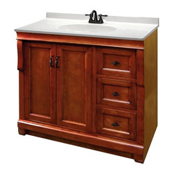 Pegasus - Naples 36 in. Single Vanity w Drawers - NACA3 - Manufacturer SKU: NACA3621D. Vanity top, faucet, sink and backsplash not included. Transitional design. Warm cinnamon finishVanity:. Two doors. Three full extension dovetail drawers. Black birdcage style hardware. Easy to clean PVC coated maple interior. Plywood side construction. No assembly required. 36 in. W x 21.63 in. D x 34 in. H (56 lbs.)Mirror:. 2 in. frame thickness. Secure-mount easy hang system for secure installation. 36 in. W x 32 in. H (22.55 lbs.)