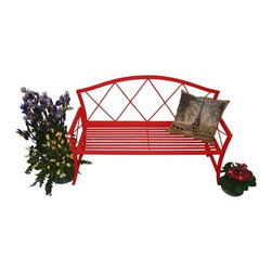 Austram Splash Bench-Red - Designed for indoor or outdoor use the Austram Splash Bench - Red will make a lovely accent in front of greenery in your garden or neutral-colored walls in your home. The diamond back design gracefully arching back and curving legs give this colorful metal bench a refreshing style. The simple slat seat and straight armrests ground the bench in the modern era without diminishing its traditional beauty. This bench goes through a two-step finishing process to give you the beauty and resilience you need for indoor or outdoor settings. First the hand-welded tubular metal frame is plated with zinc. Then a red powder-coat finish is applied over the zinc plating. Even if the top finish should be scratched or chipped the zinc plating will still offer protection from rust. Red inspires love and vitality. Order this bench today and let your home burst with color. About AustramIn 1983 Austram became the first company in the U. S. to introduce a coconut fiber-lined wire planter to the North American consumer. Today Austram is an industry leader offering the most complete assortment of cocomoss planters currently available. Based in Durham N.C. Austram also offers an extensive line of products to the professional greenhouse grower. Their line also includes wire trellises and arbors fence edging benches plant stands bakers racks and more. As they head into the next century Austram's mission is to continue to market high-quality innovative decorative planters and planter accessories while continuing their tradition of providing the highest value quality and service in the lawn and garden industry. '