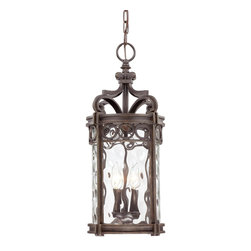Minka Lavery - Minka Lavery Outdoor 9224-256 Regal Bay 3 Light Pendant - Mouth Blown Clear Hammered Glass Shade