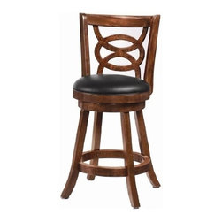 "Coaster - 24""H Bar Stool (Cappuccino) By Coaster (Set of 2) - 24""H SWIVEL ST features a cappuccino finish with intricately crafted wood seat back. Dimensions: 17.5"" x Depth: 17.5"" x Height: 39 Some assembly may be required. Please see product details."