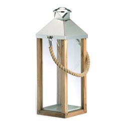 Kathy Kuo Home - Camp Gray Beach Style Large Modern Wood Rope Handle Lantern - Hang on to summer with this nautical lantern, steeped in equal parts structure, texture and maritime charm. While it boasts reclaimed wood, the warm glow is all new.