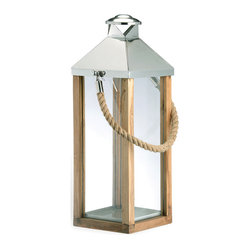 Kathy Kuo Home - Camp Gray Beach Style Large Modern Wood Rope Handle Lantern - L - Hang on to summer with this nautical lantern, steeped in equal parts structure, texture and maritime charm. While it boasts reclaimed wood, the warm glow is all new.