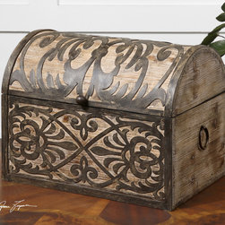 Abelardo, Box - Lightly stained rustic wood with ornate wrought iron metal details. Hinged lid provides easy access for storage.