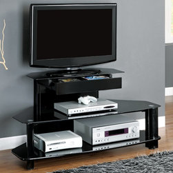 """Monarch - Glossy Black Wood / Metal 48"""" TV Console / Tempered - This glossy, black wood contemporary media console will be a lovely addition to your home, perfect for your living room, family room, or even bedroom. Three tiered black tempered glass shelves are sized from small to large, ideal for holding media players, gaming consoles, movies, and other accessories. Cord management holes allow you to prevent clutter and organize all your media player wires. Add this stylish, metal console to your home for an instant style update.; Assembly required; Weight: 38 lbs; Dimensions: 48""""L x 24""""W x 24""""H"""