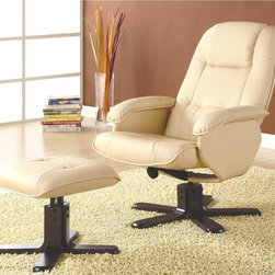 None - Basana Swivel Recliner Ottoman Set - This lovely recliner and ottoman set features padded seating and headrest,covered in beautiful ivory bonded leather. The pedestal style dark brown wood accents make this set especially stylish and contemporary.