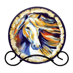 Westland - Wind II White Horse with Multicolor Background Decorative Plate - This gorgeous Wind II White Horse with Multicolor Background Decorative Plate has the finest details and highest quality you will find anywhere! Wind II White Horse with Multicolor Background Decorative Plate is truly remarkable.
