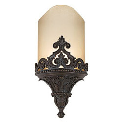Savoy House - Metropolitan Aged Bronze ADA-Compliant Wall Sconce - The wall mount features fascinating detail work. From the diverse trims to the crest that stands proud, you certainly get visual appeal. The soothing shade only adds to its allure.