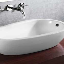 "Caracalla - Elongated Oval Shaped Ceramic Vessel Bathroom Sink - Contemporary design, round white ceramic vessel bathroom sink with no faucet holes. Beautiful above counter vessel sink includes overflow. Designed in Italy by Caracalla. Sink dimensions: 27.56"" (width), 7.68"" (height), 15.55"" (depth)"