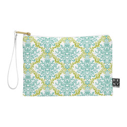 DENY Designs - DENY Designs Rebekah Ginda Design Lovely Damask Pouch - You name it, DENY's Pouches hold it! Available in two sizes and styles, you can use our water repellent pouches for cosmetics, perfume, jewelry, pencils and even an Ipad mini! And did we mention that the small size doubles as a wristlet? With a coordinating color strap and interior lining, you can throw it into a larger bag or use it on the go as a clutch to hold your phone, credit cards and various other essentials. It's a party in a bag!