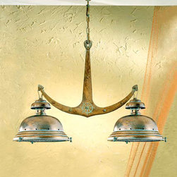 Fredeco Nautical Island Light - Fredeco Nautical Rustic Island Pendant made of brass with two lights and grilled wire in front of glass.