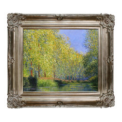 overstockArt.com - Monet - Bend in the Epte River - Hand painted oil reproduction of a famous Monet painting, Bend in the Epte River Near Giverny. The original masterpiece was created in 1888. Today it has been carefully recreated detail-by-detail, color-by-color to near perfection. While Monet successfully captured life's reality in many of his works, his aim was to analyze the ever-changing nature of color and light. Known as the classic Impressionist, one can not help but have deep admiration for his talent. This work of art has the same emotions and beauty as the original. Why not grace your home with this reproduced masterpiece? It is sure to bring many admirers!