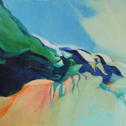Late 20th C. Blue & Green Oil Abstract by Anna Poole