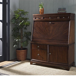 """iQuest Furniture - Madison Secretary Desk with File Drawers - Features: -Style: Modern and contemporary.-Height is designed for comfort.-Perfect height reduces fatigue using a laptop, tablet, or keyboard, while offering higher knee space than the standard desk.-Gallery utilizes space for additional storage and accommodates multiple monitors.-Desktop extends an additional nine inches.-Component storage displays and charges them all in one convenient place.-Utility and letter-legal file drawers.-Out-of-sight and organized printer storage.-61.5"""" H x 46"""" W x 20.5"""" D, 314.6 lbs.-Durable english dovetail drawer construction.-Hawthorne finish.-Madison collection.-Distressed: No.-Collection: Madison.Dimensions: -Overall Product Weight: 315 lbs."""