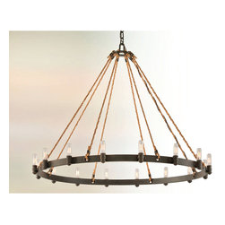 Troy Lighting - Pike Place Round Chandelier - Pike Place Round Chandelier features a hand worked wrought iron frame in Shipyard Bronze and natural manila rope. Available in an 8, 12 or 16-light version. 60 watt 120 volt Edison Nostalgic tubular B10 candelabra base incandescent bulbs are included. Dimensions: 8-light: 25 inch diameter x 23 inch height. 12-light: 32 inch diameter x 26.5 inch height. 16-light: 42 inch diameter x 32.5 inch height.
