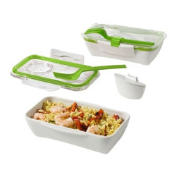 black + blum - black + blum Bento Box, Lime & White - This design follows on from the success of  the box appetit lunchbox. It is half the width of the original design and this allows you to carry it upright in your bag. The volume is perfect for pasta, rice or even sushi. They also  added a clip to hold the fork (or your own chopsticks).