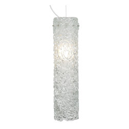 LBL Lighting - Isis Pendant - The Isis Pendant features thick pipes of glass formed together into an outer cylinder. An inner frosted glass cylinder gives a general distribution of light. Available in Amber, Aqua, Clear, or Smoke, with either a Satin Nickel or Bronze metal finish. Available with incandescent or CFL lamping. Incandescent: One 75 watt 120 volt A19 type E26 medium base incandescent bulb is included. CFL: One 32 watt 120 volt T4 type GX24Q-3 base CFL bulb is included. 7 inch width x 24 inch height. Six feet of field cuttable cable is included. Canopy is included.