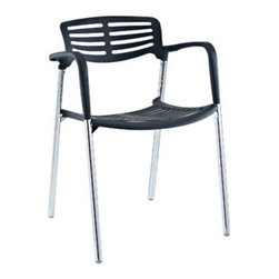 "LexMod - Fleet Stacking Chair in Black - Fleet Stacking Chair in Black - Bring versatility to your meetings and events with a sturdy chair that fits all occasions. The Fleet stacking chair is made of stainless steel with a fashionable hard plastic seat and arm covering. The design is sleek and compact while providing the seating room necessary to accommodate your guests comfortably. Fleet stacks for easy storage. Set Includes: One - Fleet Metal Stacking Meeting Chair Sleek meeting or event chair, Sturdy chrome metal construction, Hard plastic seat and arm coating, Fully stackable, Comes fully assembled Overall Product Dimensions: 22.5""L x 22""W x 31""H Seat Height: 22.5""L x 22""W x 18""H Armrest Height: 27.5""H - Mid Century Modern Furniture."