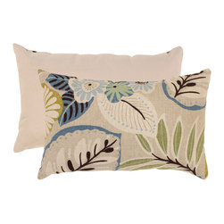Pillow Perfect - Pillow Perfect Beige/ Blue Tropical Rectangular Throw Pillow - Feel more comfortable when lounging around on your couch or bed with this contemporary decorative throw pillow. The shape is perfect for tucking behind your back for extra comfort, and the floral pattern in neutral colors work with different couches.