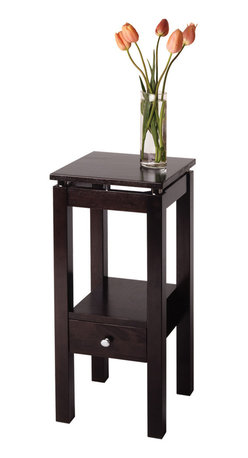 Winsomewood - Linea Phone Stand with Chrome Accent - Glossy chrome columns give this phone stand a boost for an open airy look. A bottom shelf and pull-out drawer offer plenty of storage space for notepads and other everyday essentials. Top this accent table with a decorative table lamp and use in a hallway or give it center stage in your entry.