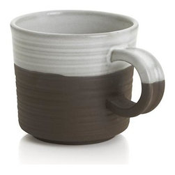 Studio Dark Clay Small Mug - Solid stoneware glazed milky white, banded and textured with a wax-resist technique that exposes unglazed colors of natural clay, stone grey, brown and terracotta. Designer Jono Pandolfi, whose table settings grace the tables of leading New York restaurants, returns to his roots as a potter to create the artisan-inspired iconic shapes of a mix-and match-dinnerware array that upgrades the look of casual.