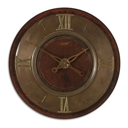 Uttermost - Uttermost Traditional Wall Clock X-20060 - Lightly distressed mahogany finish with brass details. Requires 1-C battery.