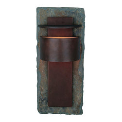 """Kenroy Home - Kenroy Home 70286 Asian Themed Outdoor Wall Sconce Pembrooke Collection - Pembrooke 1 Light Outdoor Wall LanternFeatures Natural Slate BackplateExtends: 6""""1 75w T4 Halogen Mini-Can (Included)"""
