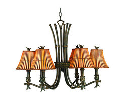 Kenroy Home - Kenroy Home 90456 6 Light Up Lighting Chandelier from the Kwai Collection - *6 Light Chandelier in a bronze heritage finish with split bamboo shades with fabric liningComes with 8' of wire and 2' of chainfeatures the E-Z install system6-60 watt candelabra base bulbs required