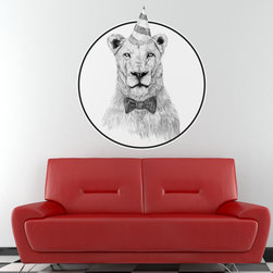 My Wonderful Walls - Party Lion Wall Decal Sticker - Get the Party Started by Balázs Solti, Large - - Product:  lion decal in party hat and bow tie