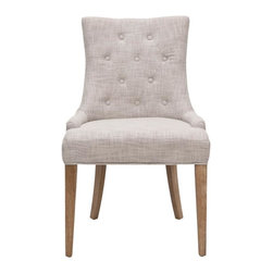 Safavieh - Meryl Chair - The Meryl Chair chair features a dressy elegance without being stuffy, so it's a perfect companion for country homes, city apartments or formal manors. Meryl Chair has chic grey upholstery, a white washed finish on birch wood legs, and features high back and sloped arms.