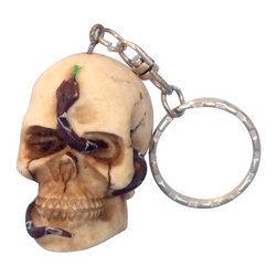 "Handcrafted Model Ships - Pirate Skull Key Chain 5"" - Decorative Pirate Key Ring - This Skull and Snake Key Chain 5"" pirate-themed key ring is both durable and functional, featuring a snake intertwined with a pirate skull. These pirate key rings make ideal gifts for friends, family, employees, clients, co-workers, and especially yourself."