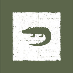 Homeworks Etc - Homeworks Etc Green Crocodile Kids Canvas Wall Art - Enjoy this fun animal canvas wall art depicting a army green crocodile against a white background.  Makes a great baby shower or birthday gift! It's lightweight design is easy to hang.  Finished olive green edge with no framing required.  Canvas stretched over a wooden frame.  Measures 10 x 10 x 1.5-inches.  Perfect for use in  a children's bedroom.