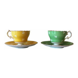 Vintage Teacups - Matching teacups in green and yellow with gold filigree border. Marked Cauldon Bone China, Made in England.