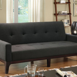 Furniture of America - Furniture of America Charlie Charcoal Finish Sofa Bed - Accommodate guests in style with this contemporary sofa bed. The solid wood frame is upholstered in a stylish solid charcoal fabric with a tufted diamond pattern along the back and seat. The padded seating converts into a comfortable bed.