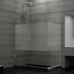 DreamLine - DreamLine SHEN-24480300-HFR-04 Unidoor Plus Shower Enclosure - DreamLine Unidoor Plus 48 in. W x 30-3/8 in. D x 72 in. H Hinged Shower Enclosure, Half Frosted Glass Door, Brushed Nickel Finish Hardware