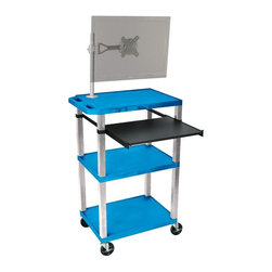H. Wilson - Tuffy 18 in. Presentation Cart w Casters in Blue - Includes pullout laptop shelf and three outlet 15 ft. cord. Three shelves. High density polyethylene structural foam injection molded plastic shelves. 1.5 in. nickel legs that will not chip, warp, crack, rust or peel. 4 in. silent roll. Full swivel ball. 4 in. heavy duty casters, two with locking brakes. 0.25 in. safety retaining lip and a raised texture surface to enhance product placement. Ensures minimal sliding. Cord management wrap and three cable management clips. Electrical attachment recessed to insure easy passage through doorways. Shelves and legs are made from recycled material. Made from polyethylene and plastic. Made in USA. Minimal assembly required. Pullout shelf: 19.63 in. L x 15.63 in. W. Shelves: 24 in. L x 18 in. W x 1.5 in. H. Overall: 24 in. L x 18 in. W x 42.5 in. H. Warranty
