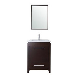 """Stufurhome - Stufurhome 24"""" Sheldon Single Sink Vanity - Stufurhome has the perfect bathroom vanity for your remodel at a perfect price. Stufurhome's vanities are pieces of finely made furniture detailed with rich color, charming woodwork, and ample storage space. Stylish, tasteful and practical, Stufurhome.Ideal for diminutive bathroom spaces, the 24"""" Sheldon Single Sink Vanity makes a remarkable style impression. The slim cabinet is accentuated with simple hardware for a boldly modern design statement. One large door opens to a spacious storage area below, while a soft-closing drawer provides extra space for smaller items. FeaturesMalaysia laminated solid woodDTC soft-closing door hinges and DTC soft-closing glider1 white porcelain sink1 pre-drilled faucet hole*A door and a drawerFaucet, backsplash are NOT includedStufurhome 1 Year Limited-WarrantyHow to handle your counter"""